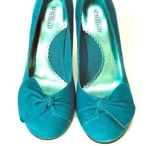 Seychelles teal blue turquoise suede heels